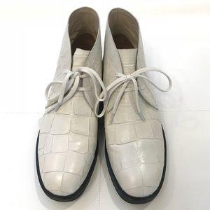 ALEXANDER WANG Croc Effect Lace-Up Boots Sz 41